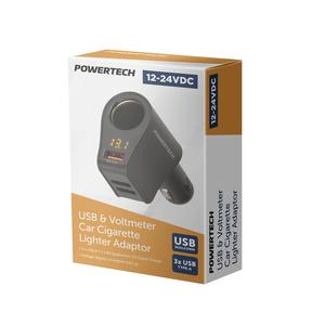 Car Cigarette Lighter Adaptor with 3 USB Charging Ports + Voltmeter