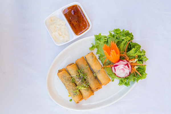 E2.Spring rolls (4) with steamed vegetables