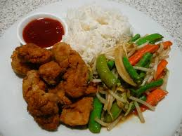 Ch9. Deep fried chicken on Ginger rice with salad