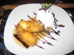 D1.Deep fried banana and Ice Cream, served with caramel sauce